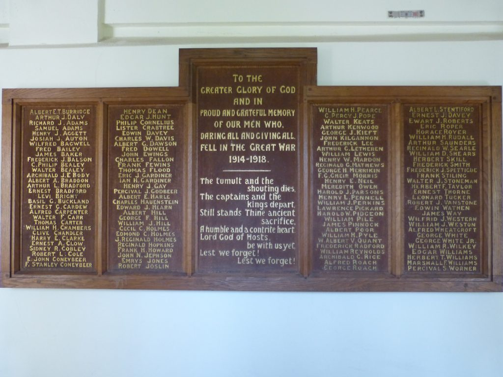This War Memorial at St Sidwell's was made by Herbert Read.