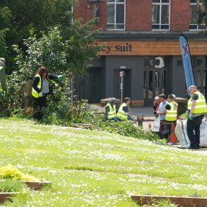 volunteers at work in the grounds of St Sidwells