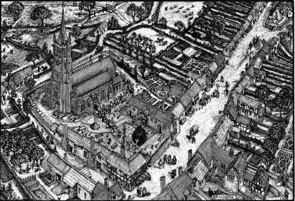 Reconstruction of St Sidwell's in about 1530 by Richard Parker