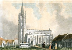 An etching of the church showing an octagonal spire